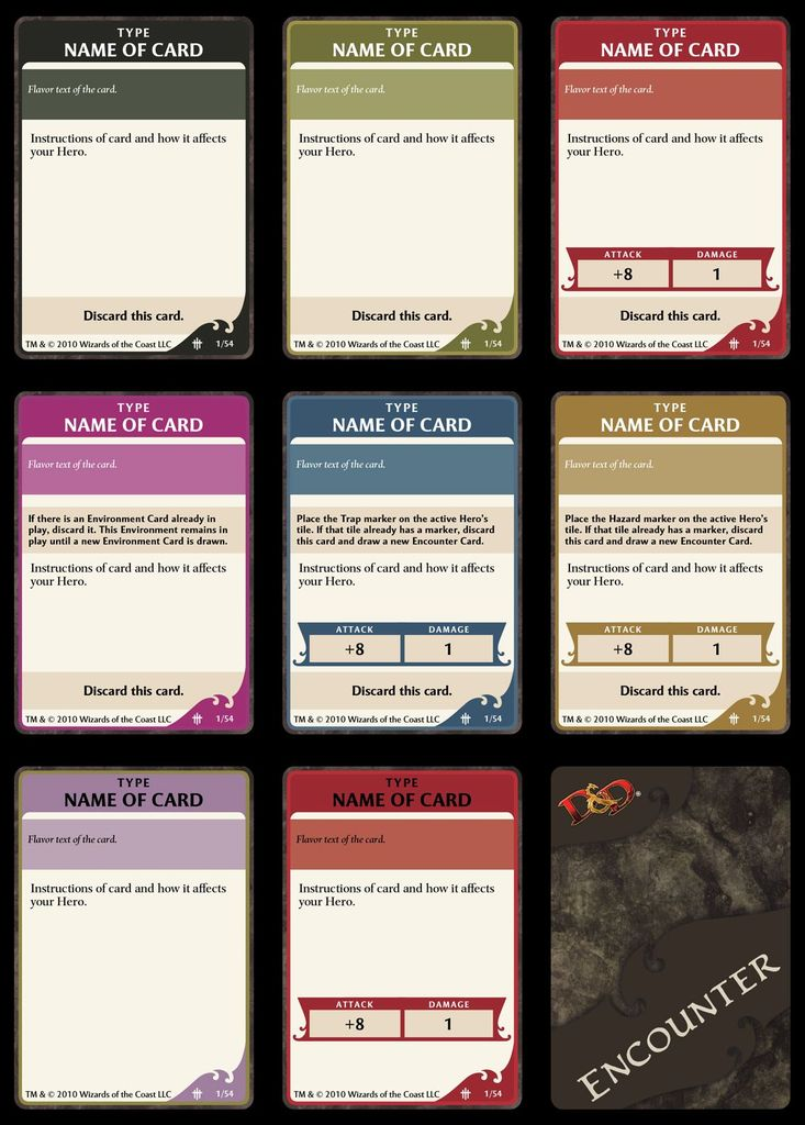 Encounter Card Template - Accurate PSD | Dungeons & Dragons: Wrath ...