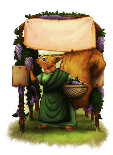SPQF illustration of a squirrel in a green robe holding a basket of grapes and smelling a bunch of grapes hanging form an arbor