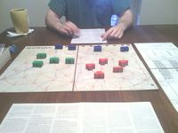 1977 AH 2nd Ed. Napoleon Waterloo Campaign.  Setup of game with my brother.
