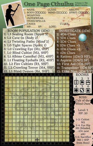 Board Game: One Page Cthulhu: Volume 2 – The Black Caverns