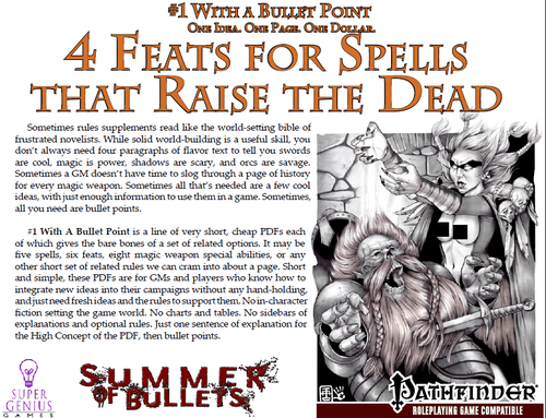 The Short Version? 4 New Feats for spells that Raise the Dead is a