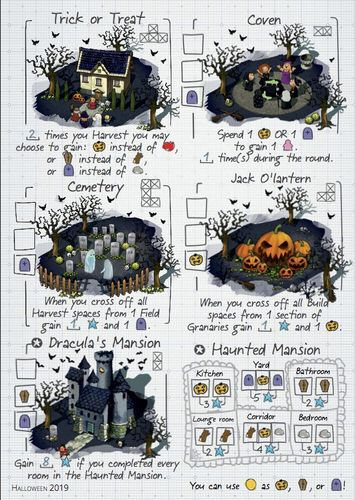 Board Game: Imperial Settlers: Roll & Write – Halloween 2019 Promosheet