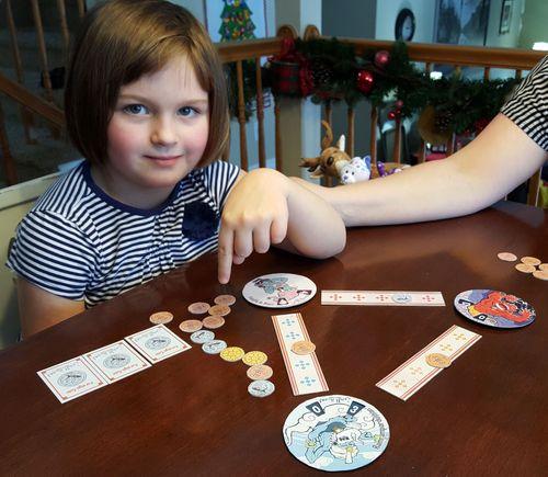 Showing off her winnings!