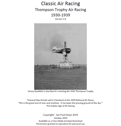 Board Game: Classic Air Racing: Thompson Trophy Air Racing 1930-1939