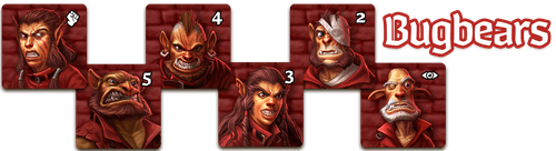 """Each player has a crew of six minions in their player color represented by crew tokens.  The crew's lookout is designated by an """"eye"""" icon, while the crew's enforcer is designated by the """"fist"""" icon."""