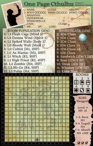 Board Game: One Page Cthulhu: Volume 1 – Miskatonic Tunnels