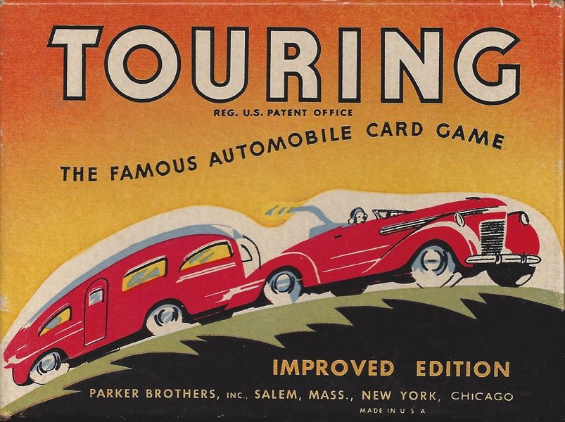 "1947 Parker Brothers edition of Touring with ""Salem, Mass., New York, Chicago"" on cover. This edition has 5, 15, 25 and 45 mile cards."