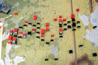 Oct 1941 -End of first Fortnight Axis Turn.  Russia resigns. Her blocks @ 1-2 CV, Germany all 3-4.