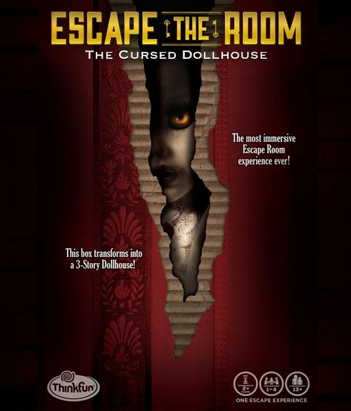 Escape the Room: The Cursed Dollhouse, ThinkFun, 2020 — front cover (image provided by the publisher)