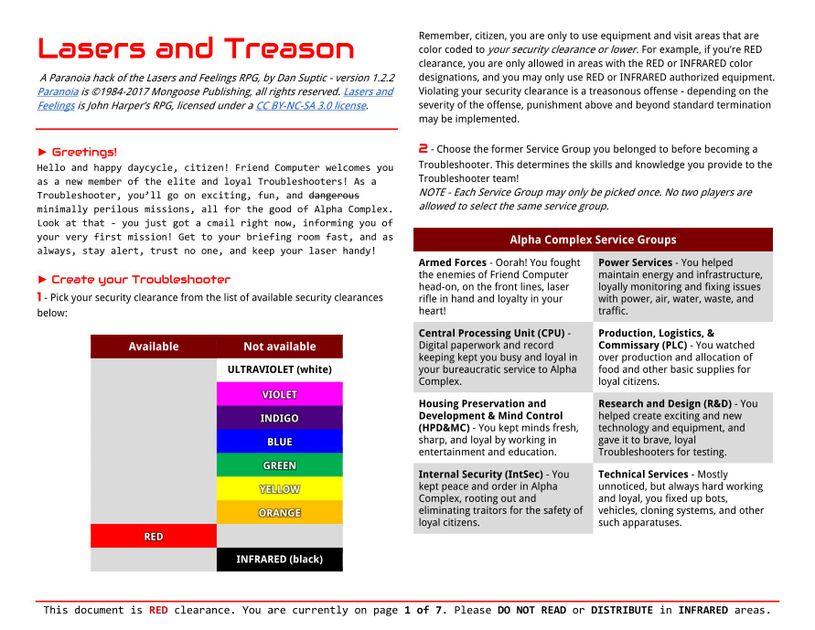 Lasers And Treason Rpg Item Rpggeek