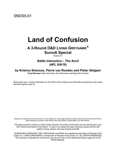 SNDS5-01: Land of Confusion: The Anvil   RPG Item   RPGGeek