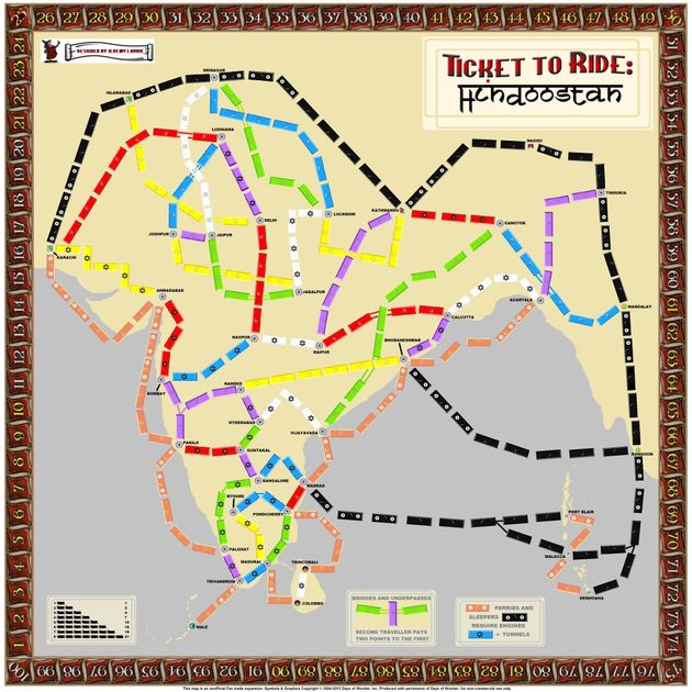 Ticket To Ride India Map.India Fan Expansion To Ticket To Ride Board Game Boardgamegeek