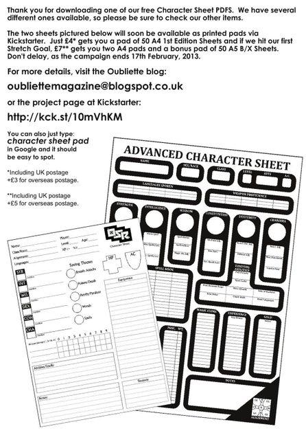 1st Ed Advanced Character Sheet Rpg Item Rpggeek