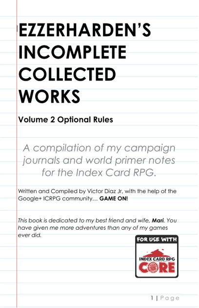 Ezzerharden's Incomplete Collected Works Vol  2 Optional Rules | RPG