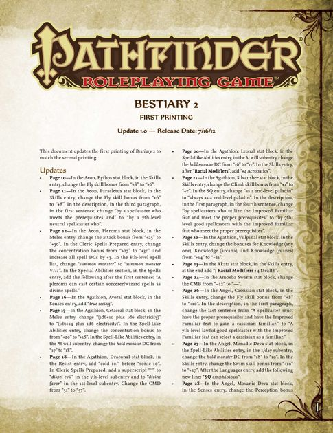 Pathfinder Roleplaying Game Bestiary 2 Errata | RPG Item | RPGGeek