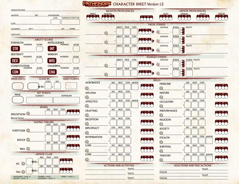 Pathfinder Playtest Character Sheet | RPG Item | RPGGeek