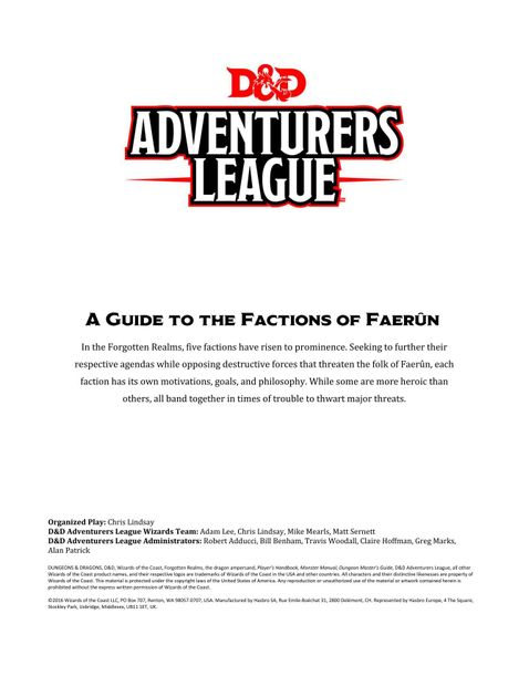 A Guide to the Factions of Faerûn | RPG Item | RPGGeek