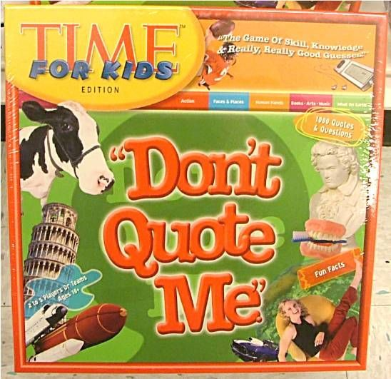Don T Quote Me Time For Kids Edition Board Game
