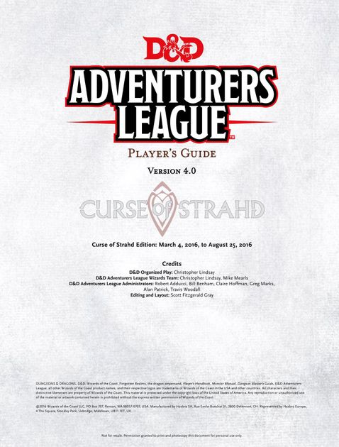 Adventurers League Player's Guide (Curse of Strahd) | RPG