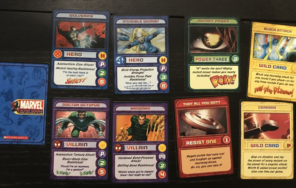 Marvel Super Heroes Collector's Club Trading Cards   Board Game