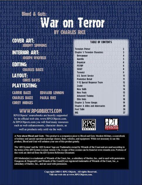 Blood & Guts: War on Terror | RPG Item | RPGGeek