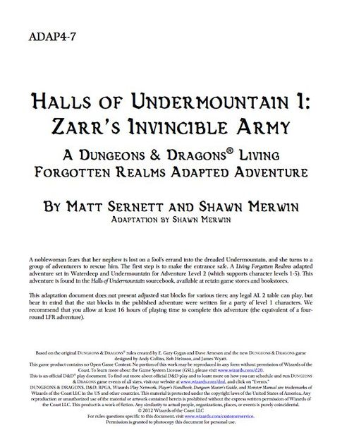 ADAP4-7: Halls of Undermountain I: Zarr's Invincible Army | RPG Item