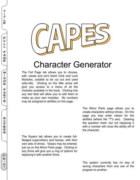 Capes Character Generator | RPG Item | RPGGeek