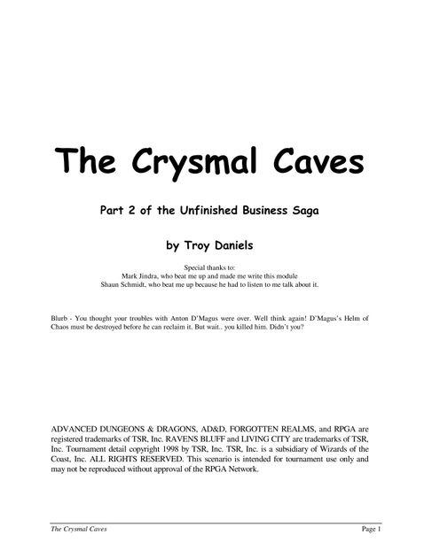 The Crysmal Caves | RPG Item | RPGGeek