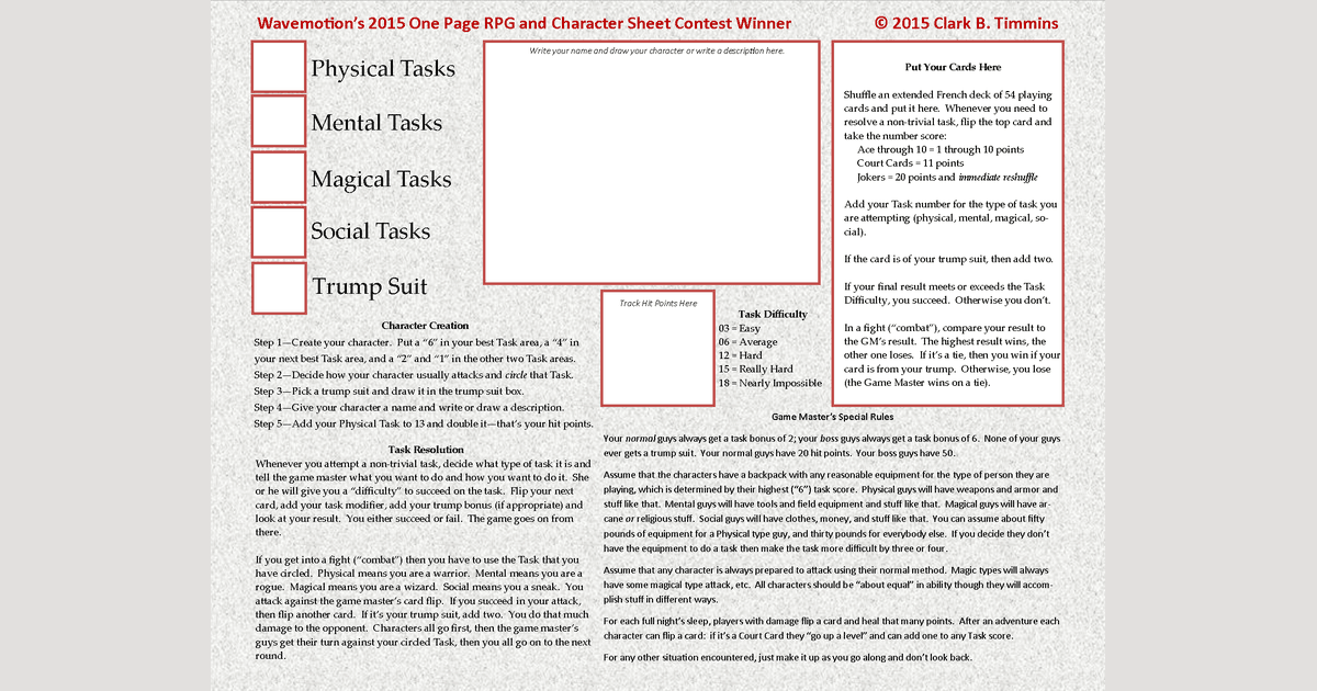 One Page Rules Rpg