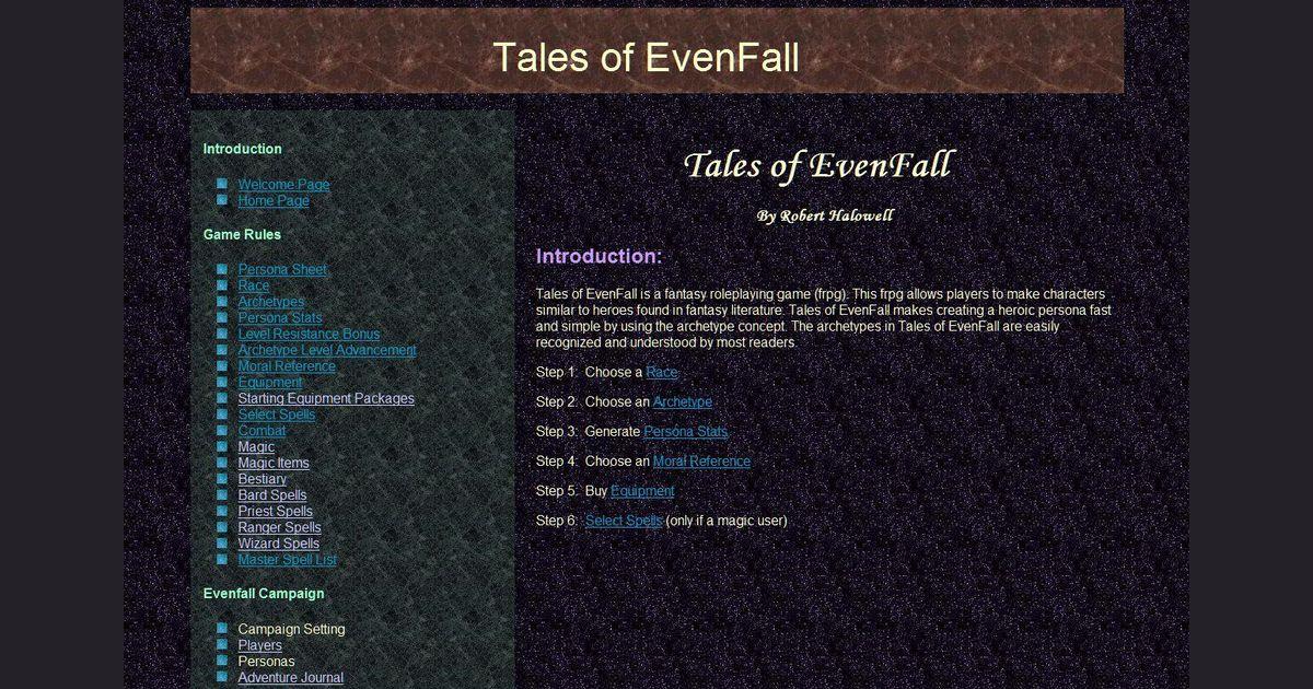 Tales of EvenFall | RPG Item | RPGGeek