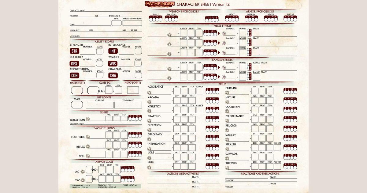 Pathfinder Playtest Character Sheet | RPG Item | RPGGeek