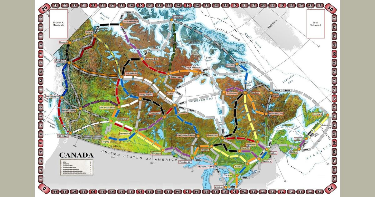 Fill In Map Of Canada.Ticket To Ride Canada Map Size Canada Fan Expansion To Ticket To
