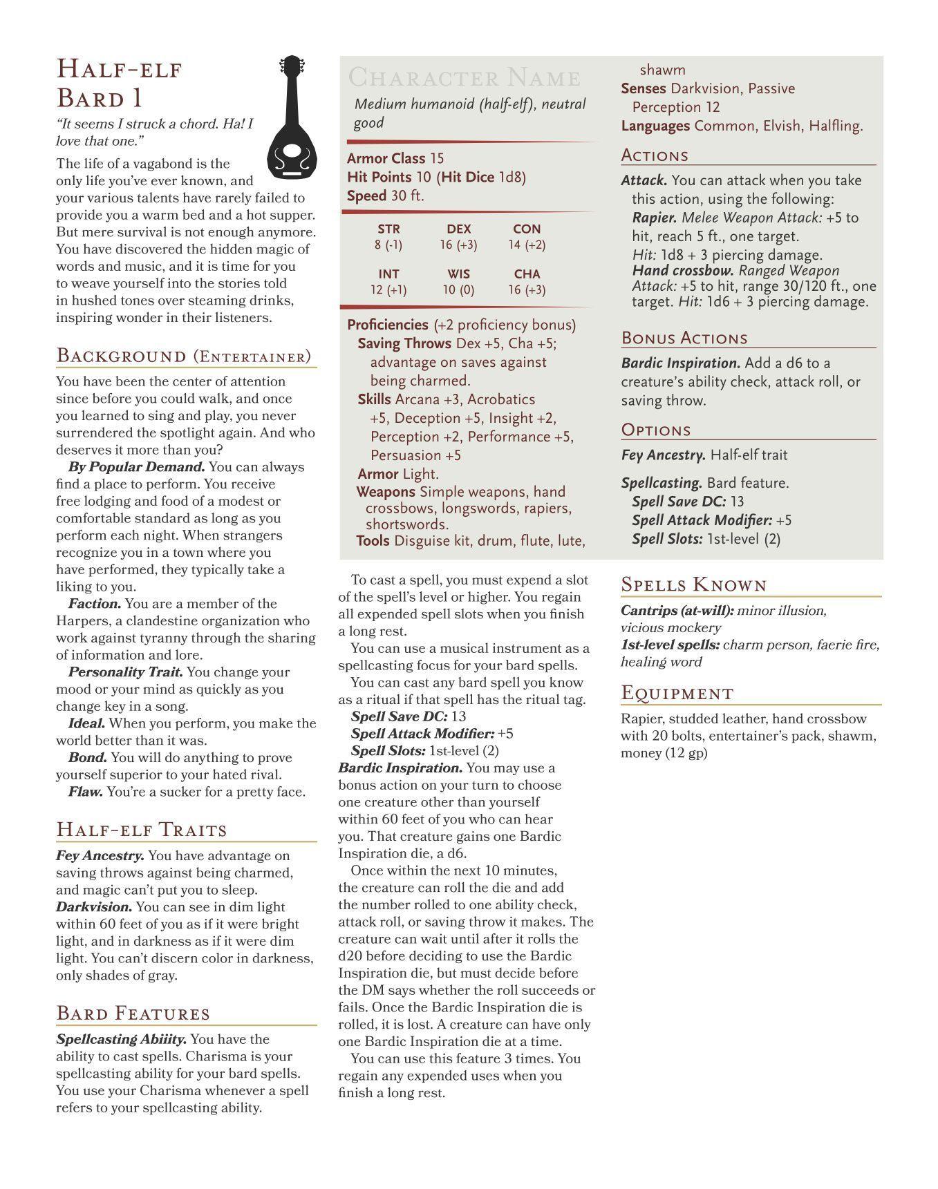 Half-elf Bard | Image | BoardGameGeek