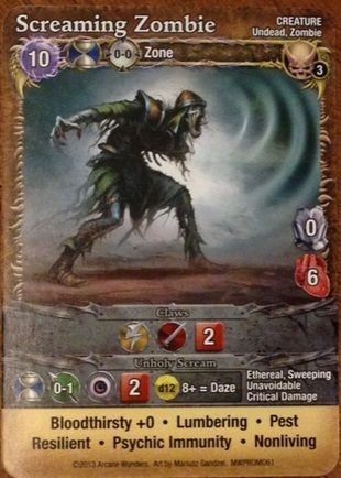 Mage Wars: Screaming Zombie Promo Card