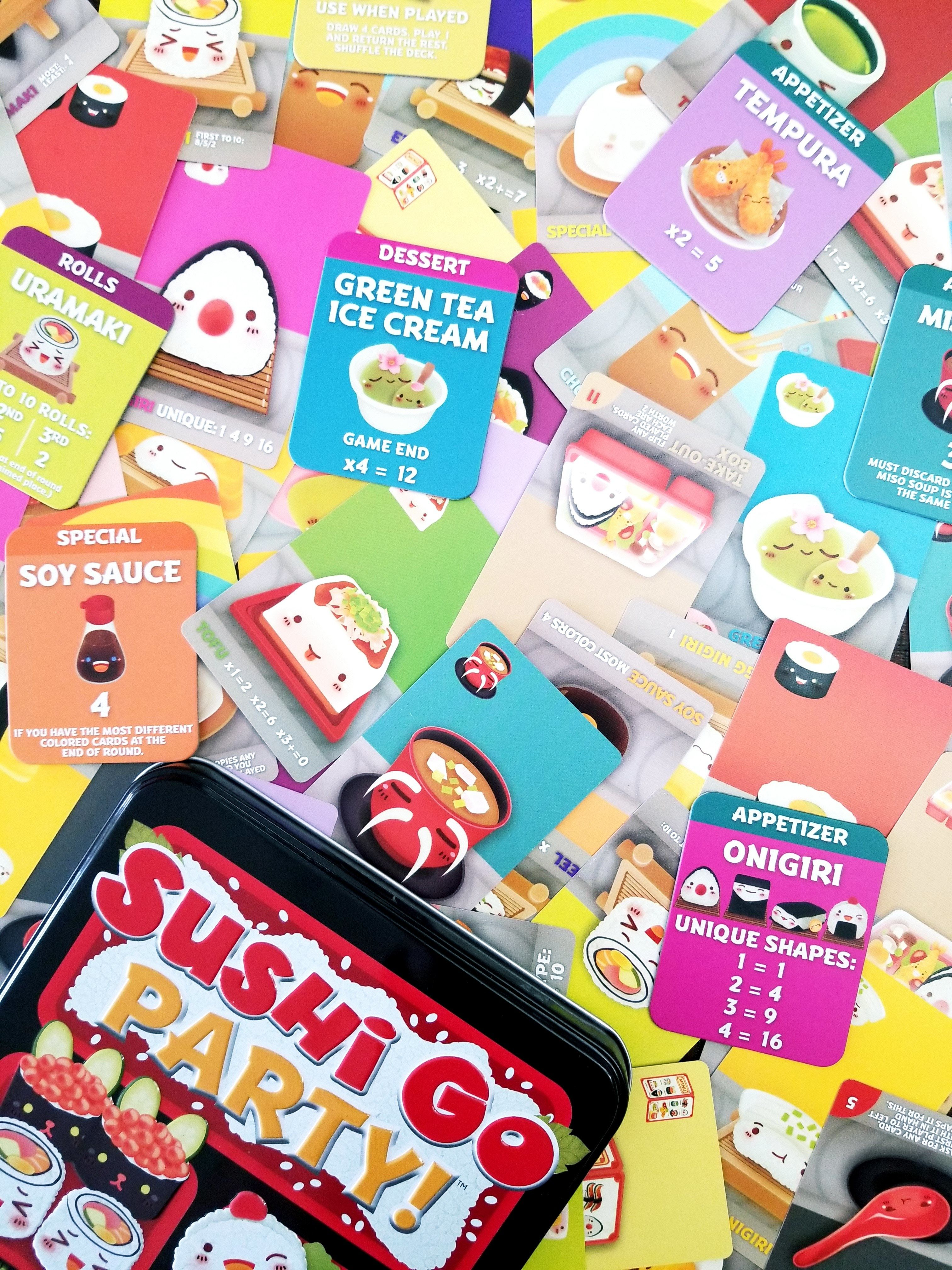 A selection of cards and menu tiles from Sushi Go Party!