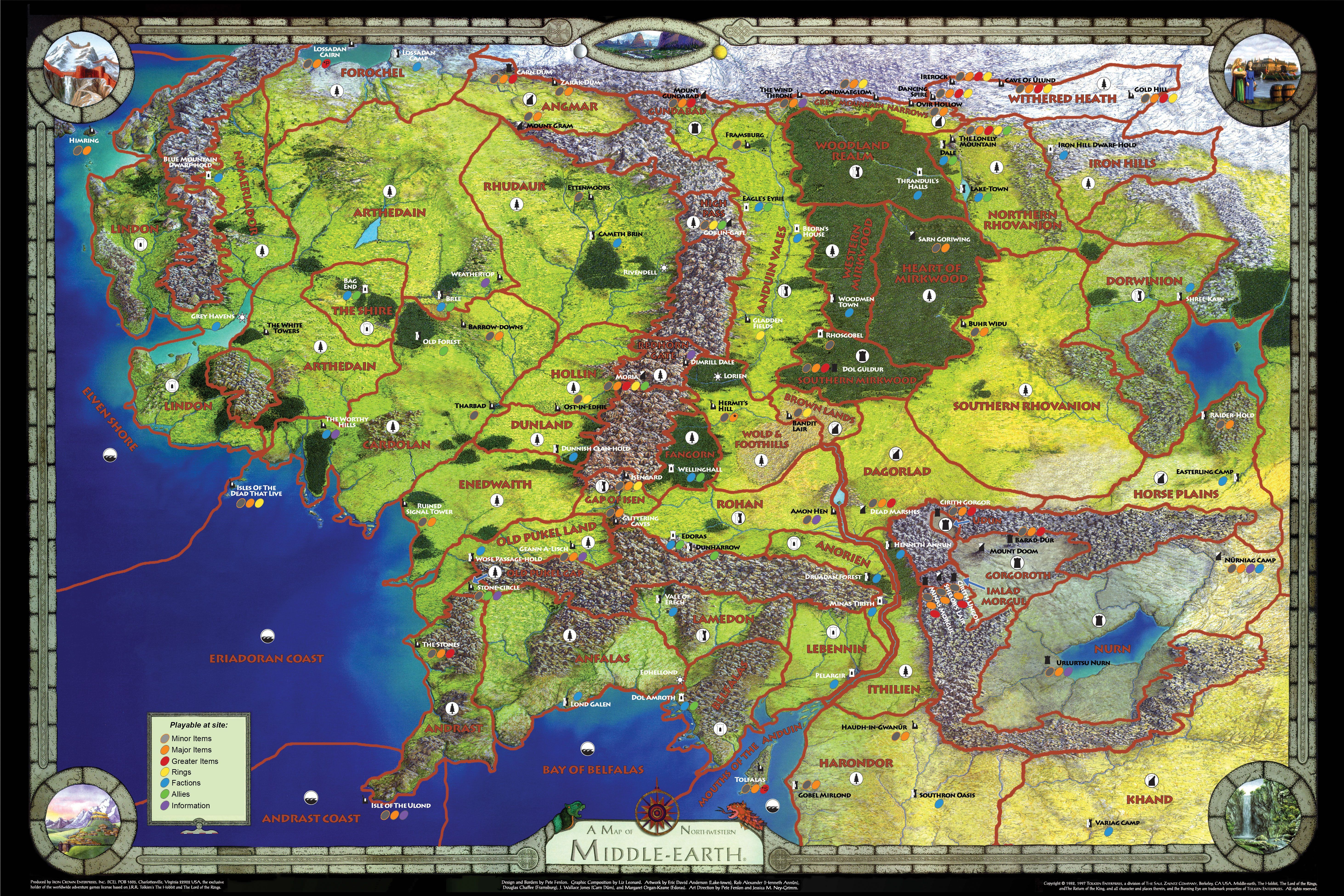 promo map with color coded guide to whats playable at a site middle earth boardgamegeek