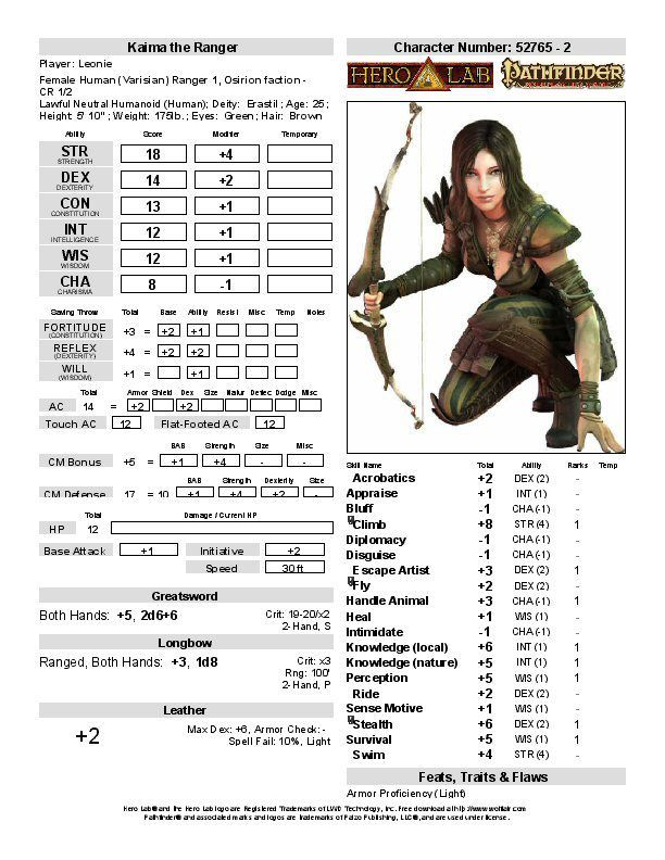 Character reviews | RPG Geek Pathfinder Society Game Guild