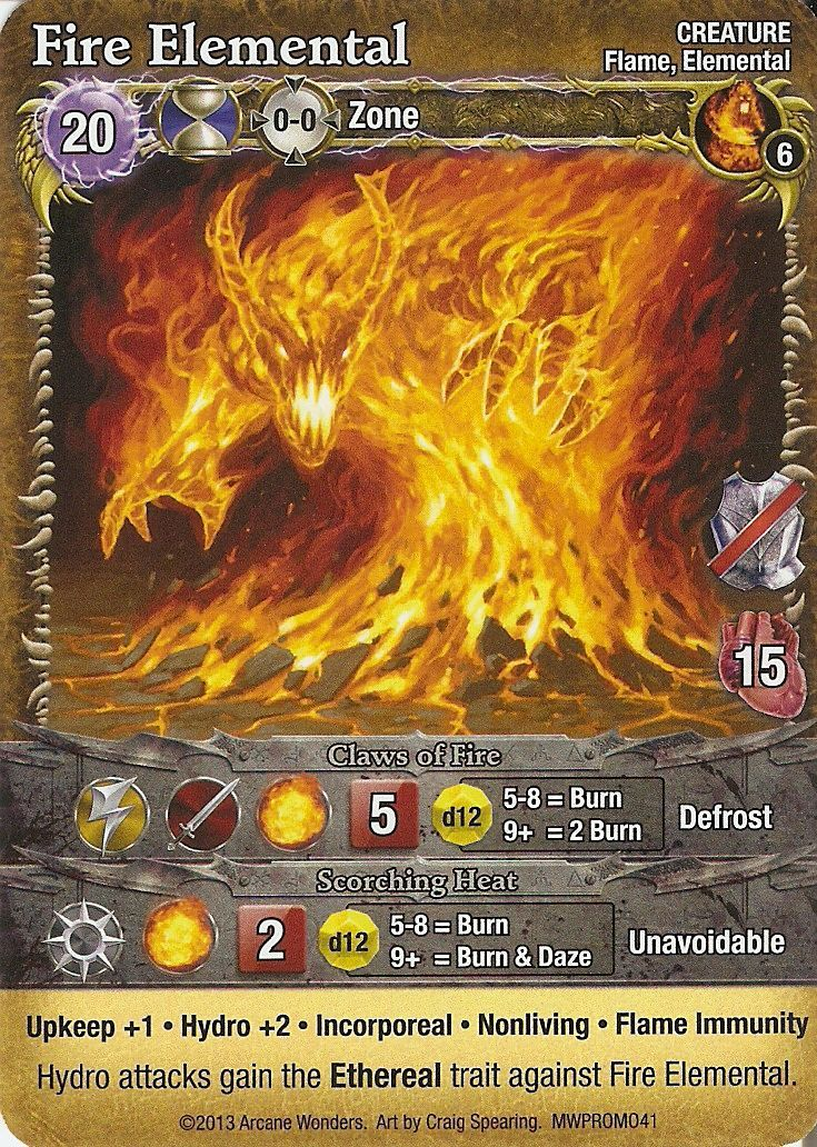 Mage Wars: Fire Elemental Promo Card