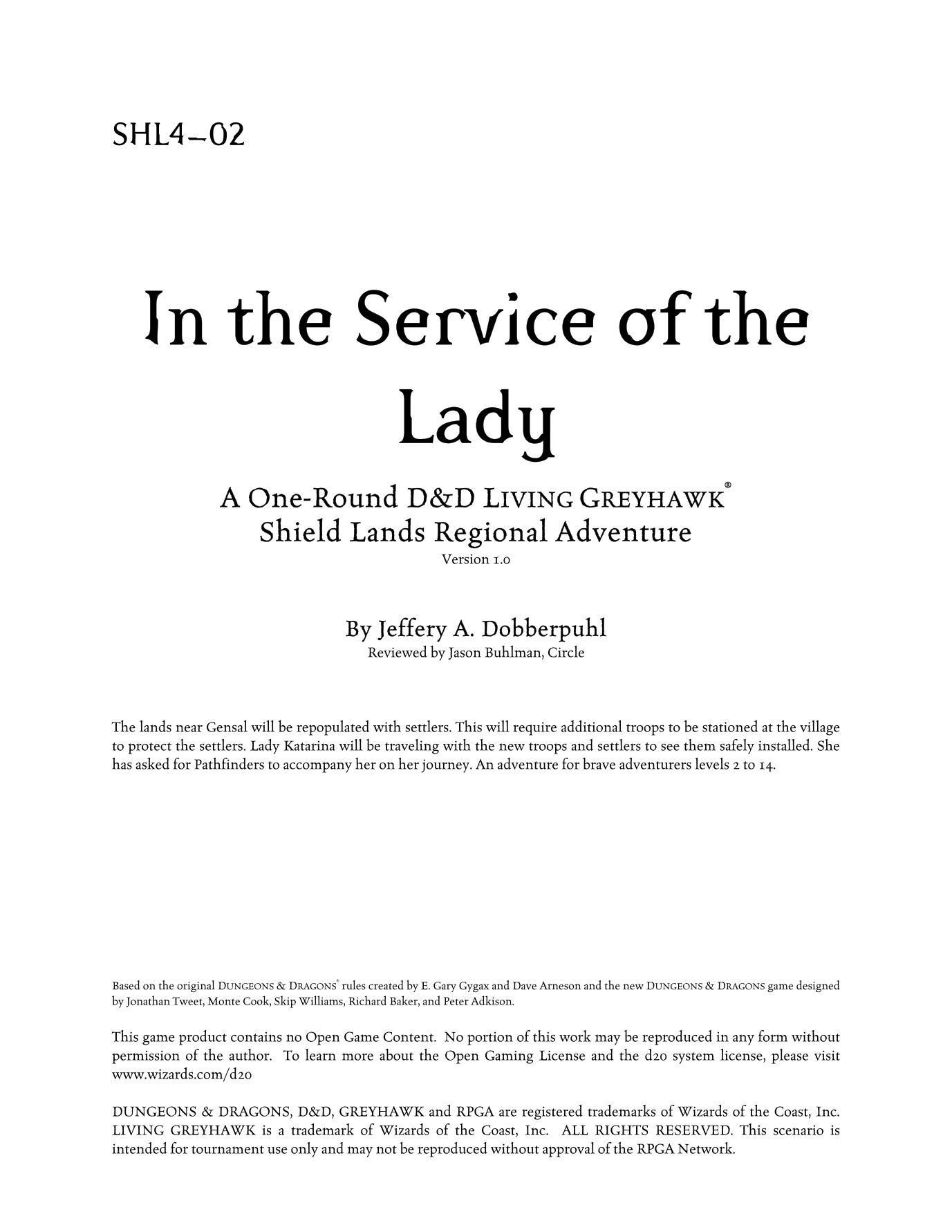 SHL4-02: In the Service of the Lady | Image | BoardGameGeek