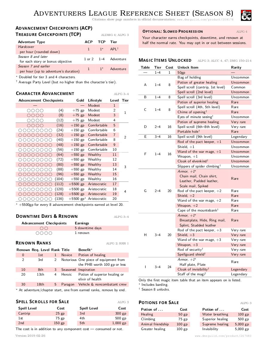 Brand new AL reference sheet | RPGG Adventurer's League (D&D