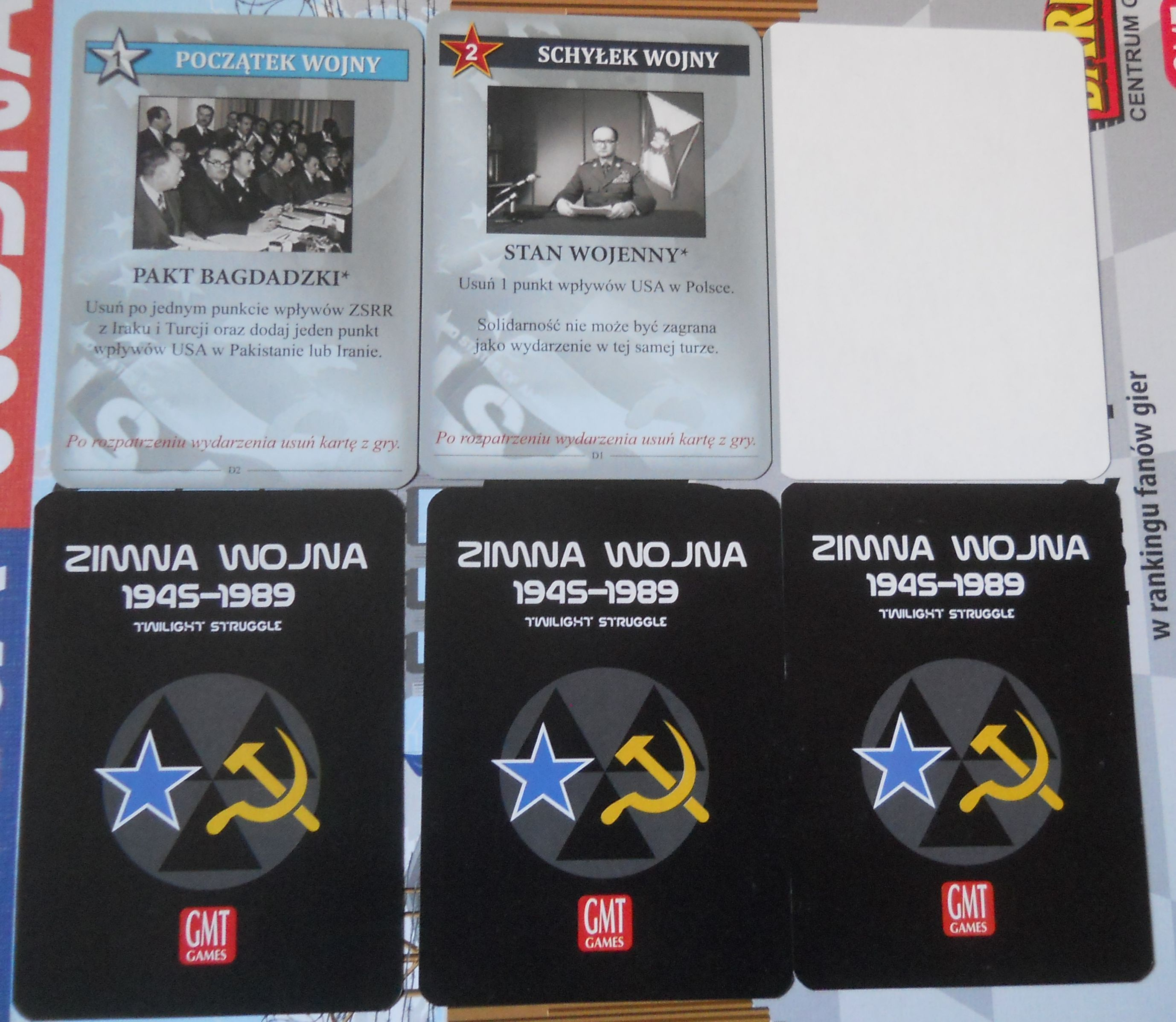 "Twilight Struggle: ""Pakt Bagdadzki"" and ""Stan Wojenny"" Promo Cards"