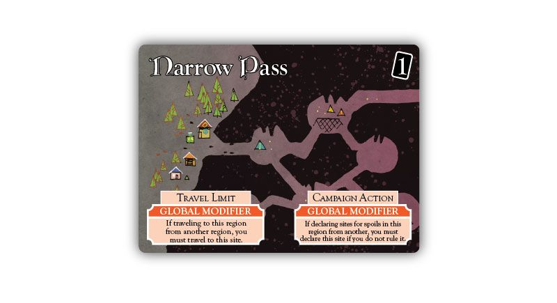 Narrow Pass land card from Oath the board game, art by Kyle Ferrin