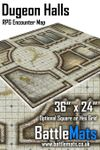 "RPG Item: Dungeon Halls 36"" x 24"" RPG Encounter Map"