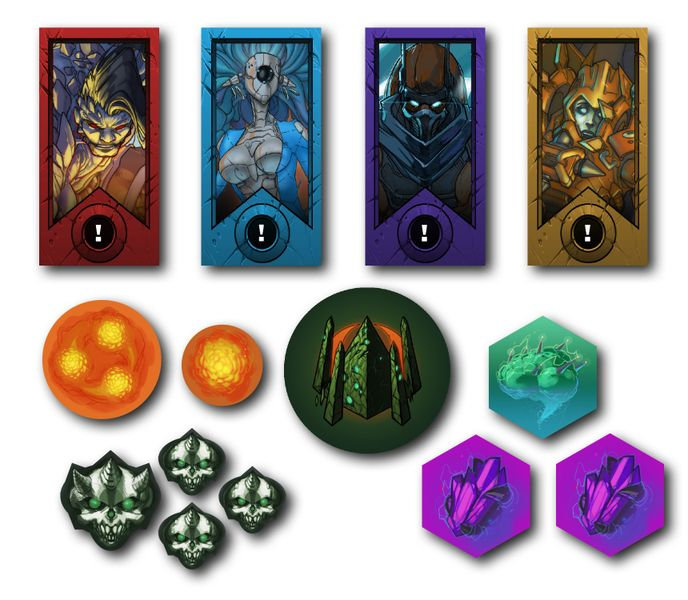 Top: Hero Tokens, Bottom: Various Game Tokens