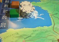 Julius Caesar Solo: Casino Chips are used to show who has the most Victory Points for Cities.