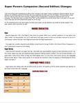 RPG Item: Super Powers Companion (Second Edition) Changes