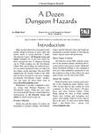 RPG Item: A Dozen Dungeon Hazards