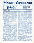 Issue: Modus Operandi (Volume 1, Issue 1 - Summer 1982)