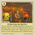 Board Game: Catan: Das Duell – Sonderkarte 2016: 20 Jahre Catan, das Spiel für 2