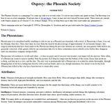 RPG Item: Osprey: the Phoenix Society